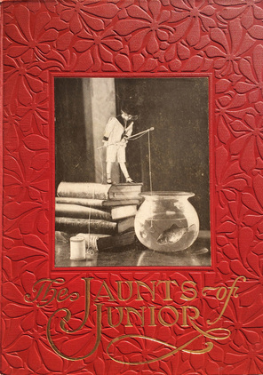 Cover - The Jaunts of Junior. A 1911 photo-montage children's picture book.  Published by Harper & Brothers.  Photographically-illustrated by Arthur B. Phelan.  Story in verse by Lillian B. Hunt.  For more photographically-illustrated picture books, visit www.tracyleshay.com/blog
